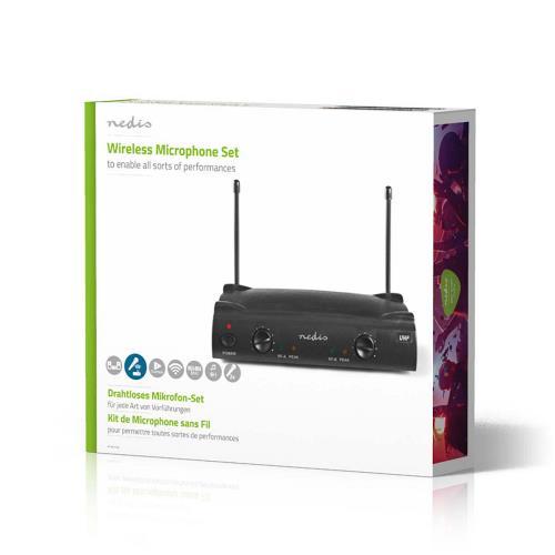 Nedis MPWL611BK Draadloze Microfoonset | 2-Kanaals | 2 Microfoons Meegeleverd | Gebruiksduur Batterij tot 6 Uur