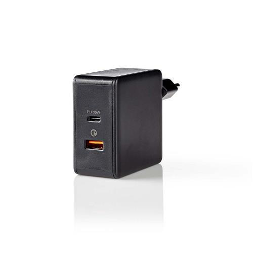 Nedis WCPD30W110BK Thuislader | 3,0 A | USB (QC) / USB-CT | Voeding: 30 W | Zwart