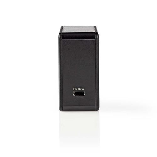 Nedis WCPD60W100BK Thuislader   3,0 A   USB-CT   Voeding: 60 W   Zwart
