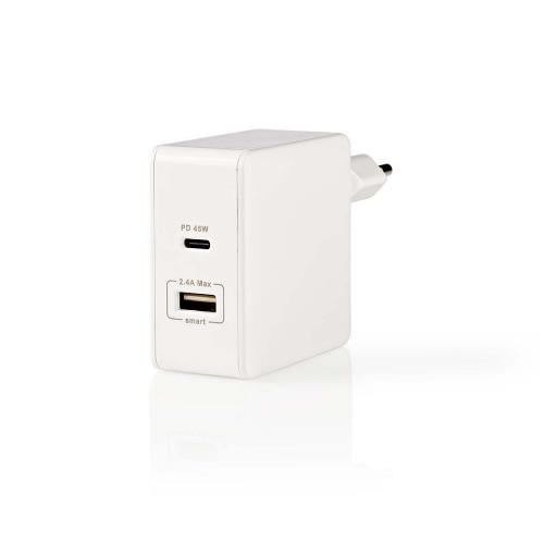 Nedis WCPD45W100WT Thuislader   3,0 A   USB / USB-CT   Voeding: 45 W   Wit