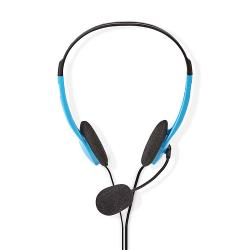 Nedis CHST100BU PC-Headset | On-Ear | 2x 3,5 mm Connectoren | 2,0 m | Blauw