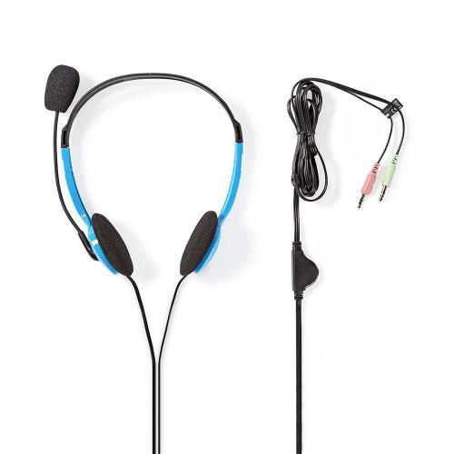 Nedis CHST100BU PC-Headset | On-Ear | 2x 3,5 mm Connectoren | 2,0 m | Blauw