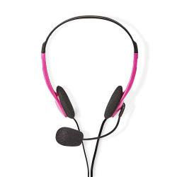 Nedis CHST100PK PC-Headset | On-Ear | 2x 3,5 mm Connectoren | 2,0 m | Roze