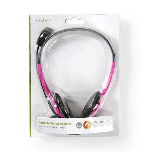 Nedis CHST100PK PC-Headset | On-Ear | 2x 3,5 mm Connectoren | 2,0 m | Roze