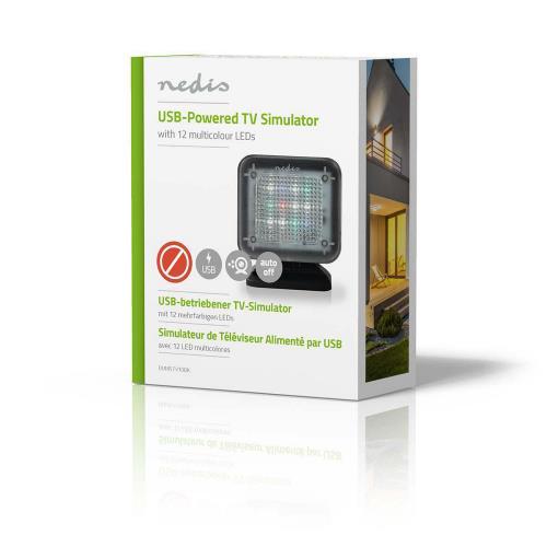 Nedis DUMSTV10BK Dummy-TV | Ingebouwde Timer | Gevoed via USB | Zwart