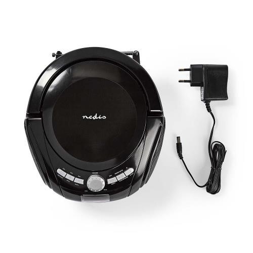 Nedis SPBB100BK Boombox   9 W   Bluetooth®   CD-speler / FM-Radio / USB / AUX   Zwart