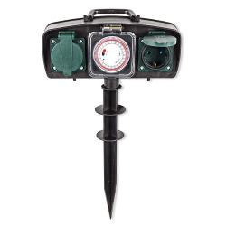 Nedis EXGS30 Stekkerdoos voor de Tuin | 2-weg | 1,5 m | Timer | Groen/zwart