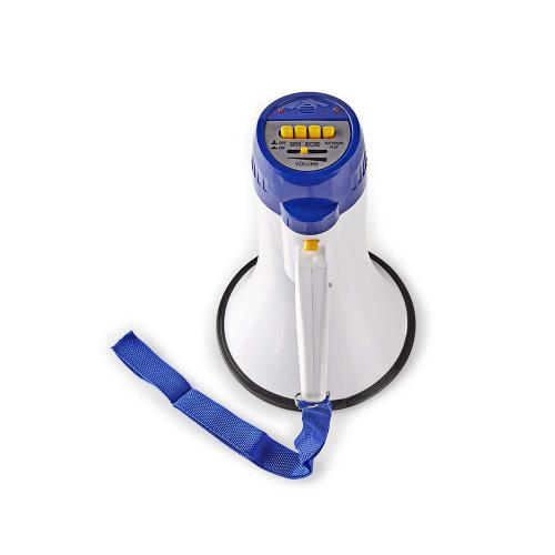 Nedis MEPH150WT Megafoon   10 W   Bereik van 250 m   Ingebouwde microfoon   Wit / blauw