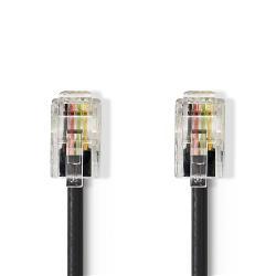 Nedis TCGP90100BK20 Netwerkkabel | RJ10 male - RJ10 male | 2,0 m | Zwart