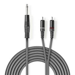 Nedis COTH23300GY15 Stereo audiokabel | 6,35 mm male - 2x RCA male | 1,5 m | Grijs