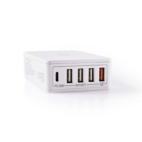 Nedis WCPD30W120WT Thuislader | 3,0 A | USB (QC) / USB-C uitgangen | Voeding: 30 W | Wit