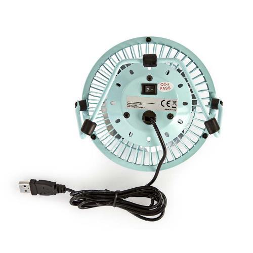 Nedis FNDK1BU10 Metalen Miniventilator | Diameter 10 cm | Gevoed over USB | Blauw