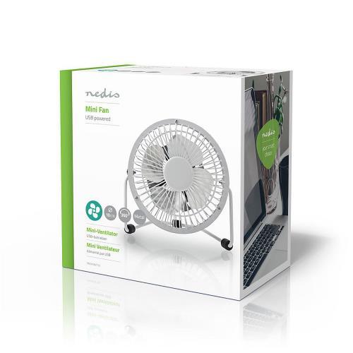 Nedis FNDK1WT10 Metalen Miniventilator   Diameter 10 cm   Gevoed over USB   Wit