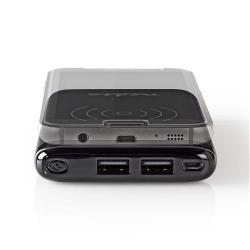 Nedis WPBK5000BK Powerbank met Draadloze Oplader | 5000 mAh | 2 x 2,1 A | 2 x USB-uitgangen | Zwart