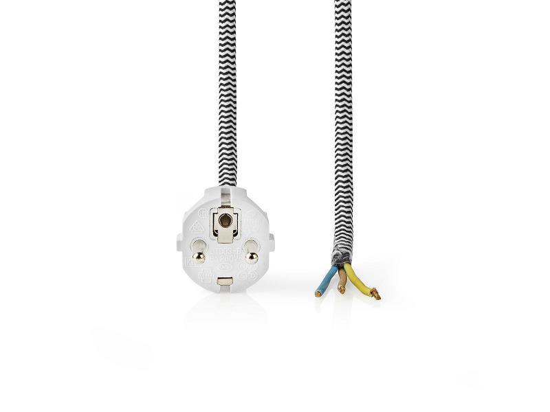Nedis PCPF30WT Stroomkabel Strijkijzers   Schuko Plug - Open Kabeleinde   3,00 m   Zwart