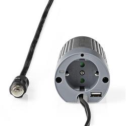 Nedis PIMS10012 Stroomomvormer Gemodificeerde Sinusgolf | 12 V DC - 230 V AC | 100 W | 1x Schuko / 1x USB-Uitgang
