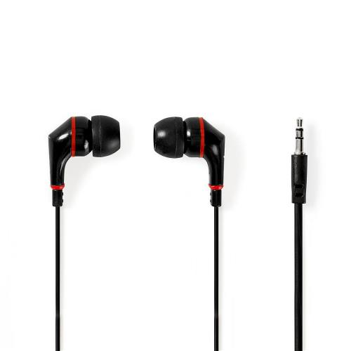 Nedis HPWD1002BK Wired Headphones | 1.2m Flat Cable | In-Ear | Black