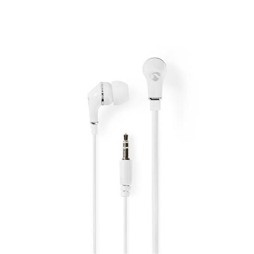 Nedis HPWD1002WT Wired Headphones | 1.2m Flat Cable | In-Ear | White