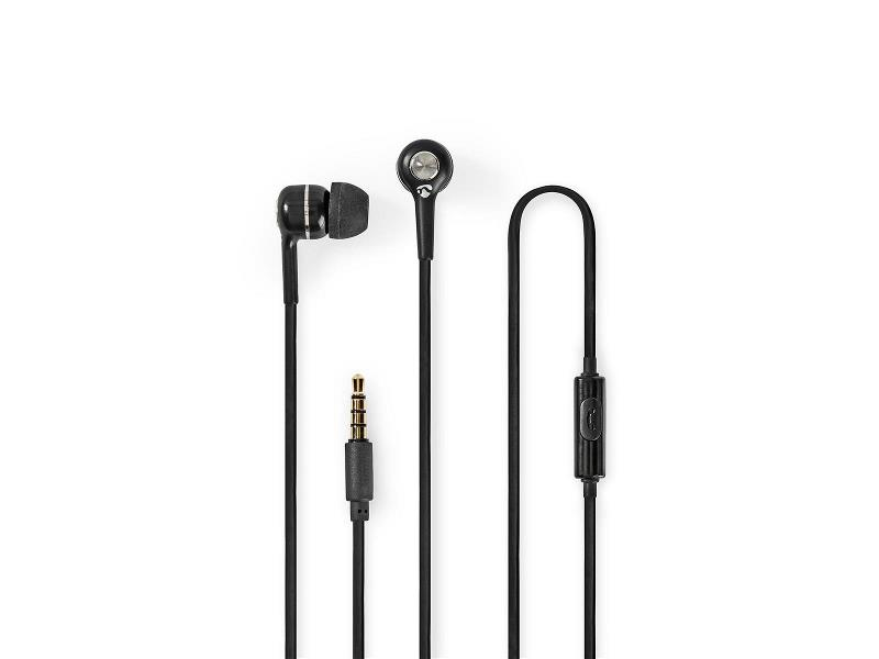Nedis HPWD2020BK Wired Headphones | 1.2m Round Cable | In-Ear | Built-in Microphone | Black