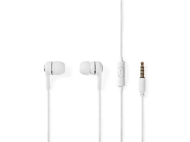 Nedis HPWD2020WT Wired Headphones   1.2m Round Cable   In-Ear   Built-in Microphone   White