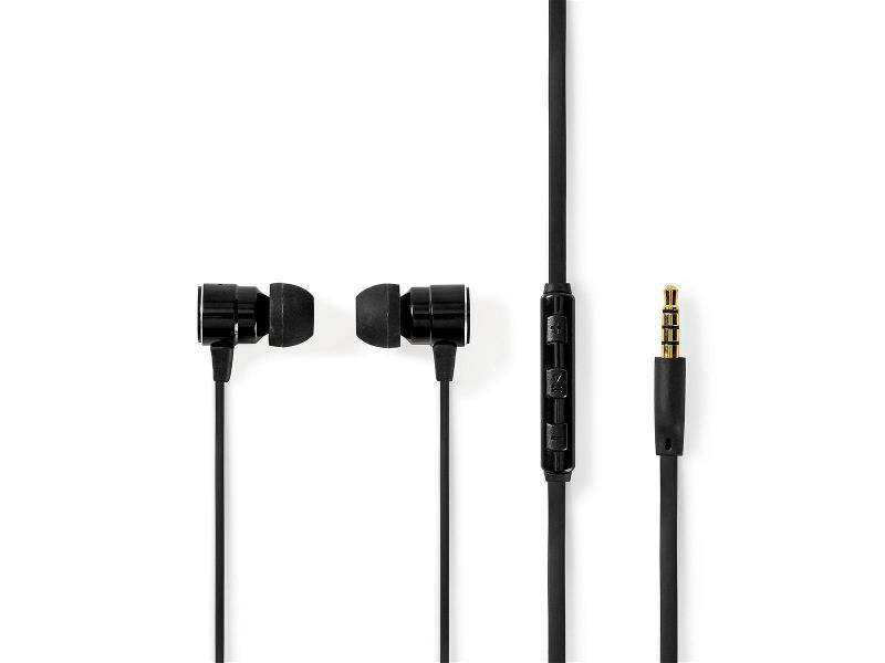 Nedis HPWD5020BK Wired Headphones | 1.2m Flat Cable | In-Ear | Built-in Microphone | Aluminium | Black