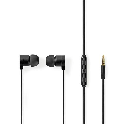 Nedis HPWD5021GY Wired Headphones | 1.2m Flat Cable | In-Ear | Built-in Microphone | Aluminium | Grey