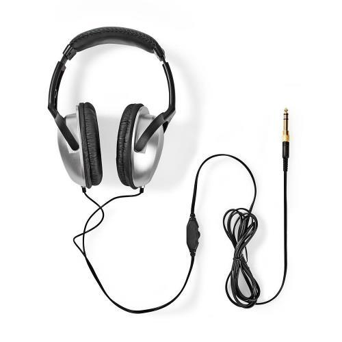 Nedis HPWD1200BK Over-ear Koptelefoon | bedraad 2,00 m | zilver/zwart