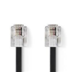 Nedis TCGB90200BK20 Telecomkabel | RJ11 (6P4C) Female - RJ11 (6P4C) Female | Plat | 2,00 m | Zwart