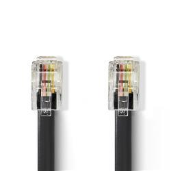 Nedis TCGP90101BK10 Telecomkabel | RJ10 (4P4C) Male - RJ10 (4P4C) Male | Spiraal | 2,00 m | Zwart