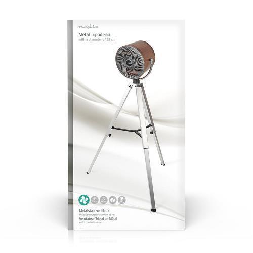 Nedis  Ventilator op Driepoot | Diameter 25 cm | 3 snelheden | Houtmotief