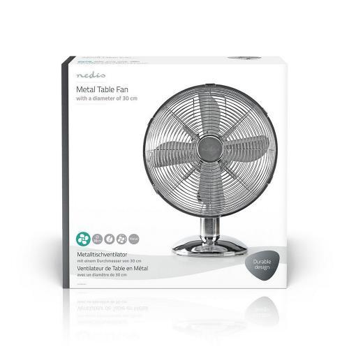 Nedis FNTB20ECR30 Metalen Tafelventilator   Diameter 30 cm   3 snelheden   Oscillatiefunctie   Chroom