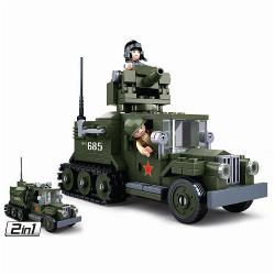 Sluban M38-B0685 Building Blocks WWII Serie GAZ Allied Half-track 2 in 1