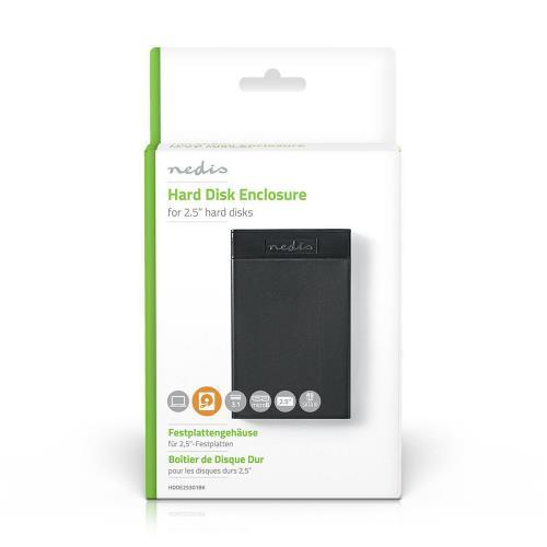 "Nedis HDDE25301BK Hardeschijf Behuizing   2.5""   SATA III-Verbinding   USB 3.1   6 Gbps"