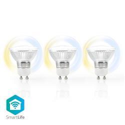 Nedis WIFILW30CRGU10 Wi-Fi Smart LED-Lamp | Warm tot Koel Wit | GU10 | 3-Pack