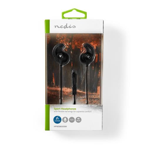 Nedis HPWD8000BK Sport Headphones | Wired | In-Ear | 1.2 m Cable | Black