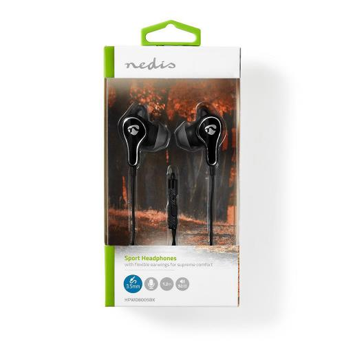 Nedis HPWD8005BK Sport Headphones | Wired | In-Ear | 1.2 m Cable | Black