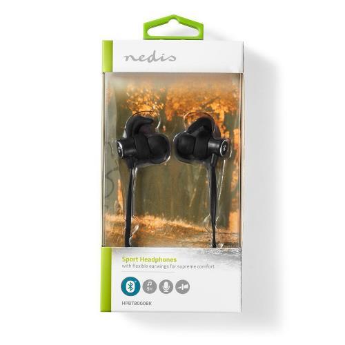 Nedis HPBT8000BK Sport Headphones   Bluetooth   In-Ear   Flexible Cord   Black