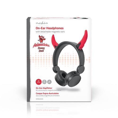 Nedis HPWD4000BK Bedrade hoofdtelefoon | 1,2 m Ronde Kabel | On-Ear | Afneembare Magnetische Oren | Danny Devil | Zwart