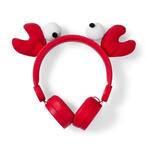 Nedis HPWD4000RD Bedrade hoofdtelefoon | 1,2 m Ronde Kabel | On-Ear | Afneembare Magnetische Oren | Chrissy Crab | Rood