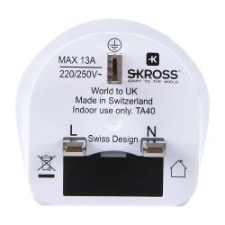 Skross 1.500225E Travel Adapter World-to-UK Earthed