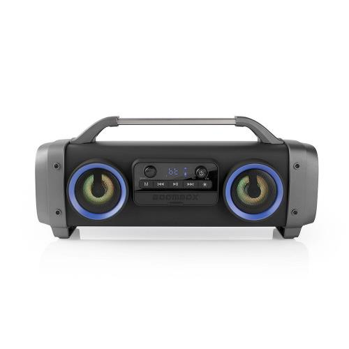 Nedis SPBB300BK Party Boombox | 3 Hours Playtime | Bluetooth® Wireless Technology | FM Radio | Party Lights | Black