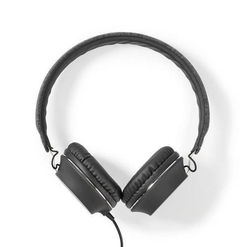 Nedis FSHP100AT Bedrade Koptelefoon met Geweven Stof Bekleed | On-Ear | Audiokabel 1,2 m | Antraciet / Zwart