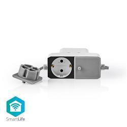Nedis WIFIPO20FWT Wi-Fi Smart Stekkerdoos voor Buiten | 2x Schuko Type-F | Weersbestendig | IP55 | 16 A