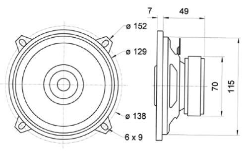 "Visaton 4613 2-weg coaxiale luidsprekerset 13 cm (5"") 4 Ohm"