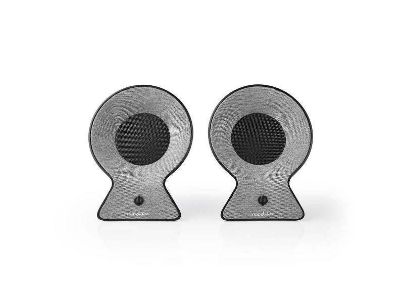 Nedis FSBS120GY Bluetooth®-Speakerset met Geweven Stof Bekleed   2x 15 W   Tot 4 Uur Speeltijd   True Wireless Stereo...
