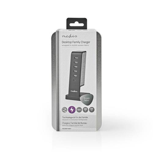 Nedis FSCSPD110GY Gezinsoplader met Stoffen Bekleding, Tafelmodel | 5x USB 2,1 A (Max.) | 1 x USB-C 30 W PD | Grijs