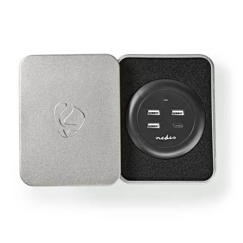 Nedis FSCSPD100BK Stoffen Tafellader voor het Hele Gezin   3x USB 2.1 A (Max.)   1x USB CT 30 W PD   Zwart