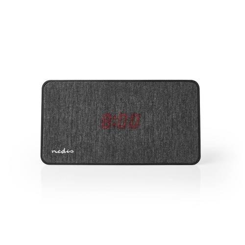 Nedis FSBS110AT Fabric Bluetooth® Speaker | 15 W | Tot 4 uur speeltijd | Digitale wekker | Antraciet / Zwart