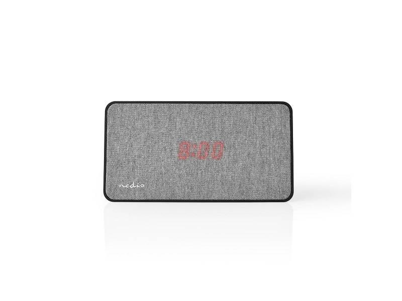Nedis FSBS110GY Fabric Bluetooth® Speaker | 15 W | Tot 4 uur speeltijd | Digitale Wekker | Grijs / Zwart