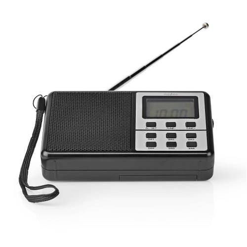Nedis RDWR1100BK FM-Radio | 1,5 W | Wereldontvanger | Klok & Wekkerfunctie | Zwart
